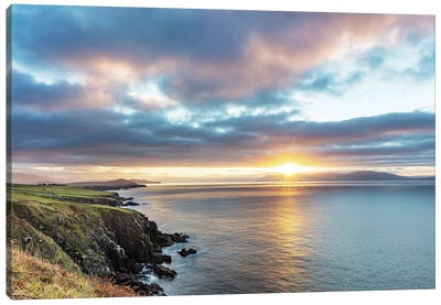 Sunrise Over Dingle Bay As Fishing Boats Heads Out In County Kerry, Dingle, Ireland Canvas Art Print
