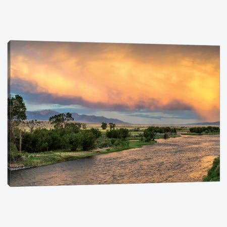 Stormy Sunset Over Madison River, Montana, USA Canvas Print #UCK10} by Chuck Haney Canvas Print