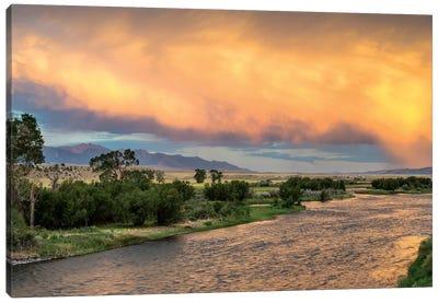 Stormy Sunset Over Madison River, Montana, USA Canvas Art Print