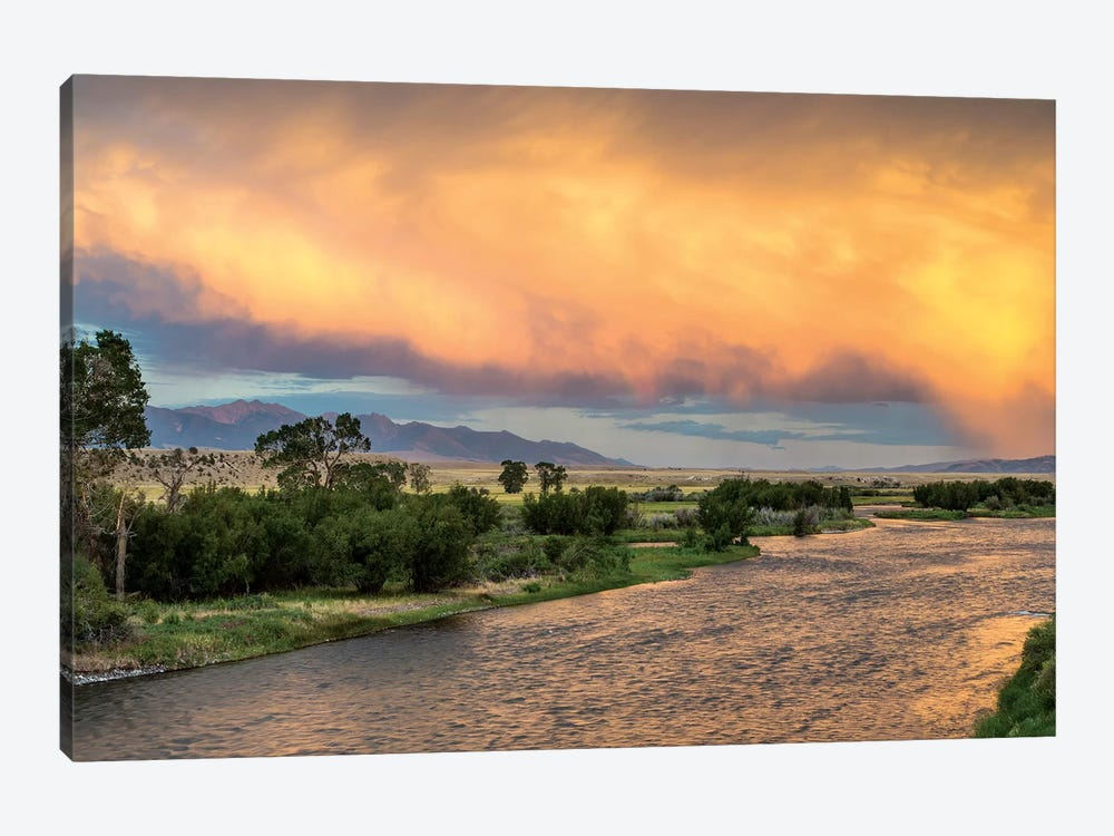 Stormy Sunset Over Madison River, Montana, USA 1-piece Canvas Print