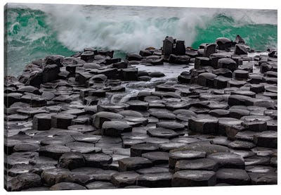 Waves Crashing Into Basalt At The Giant'S Causeway In County Antrim, Northern, Ireland Canvas Art Print