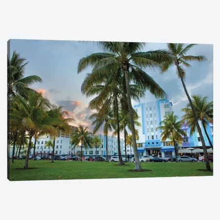 Dusk Light On Ocean Drive In South Beach Canvas Print #UCK114} by Chuck Haney Art Print
