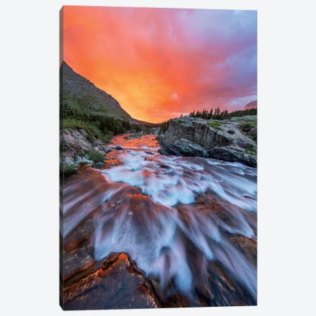 Cloudy Sunrise Over Swiftcurrent Falls, Glacier National Park, Montana, USA Canvas Print #UCK13} by Chuck Haney Art Print