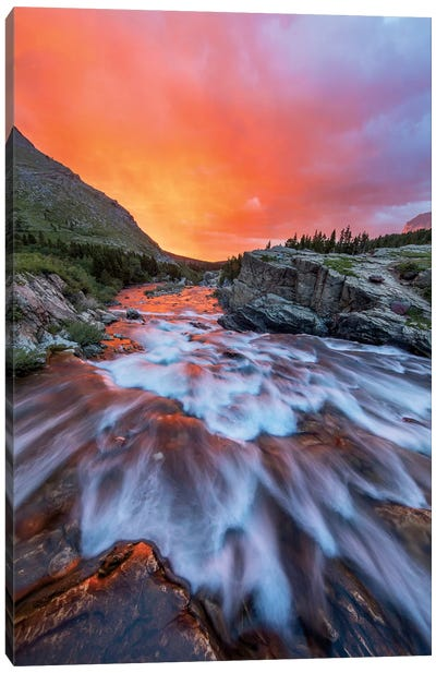 Cloudy Sunrise Over Swiftcurrent Falls, Glacier National Park, Montana, USA Canvas Art Print