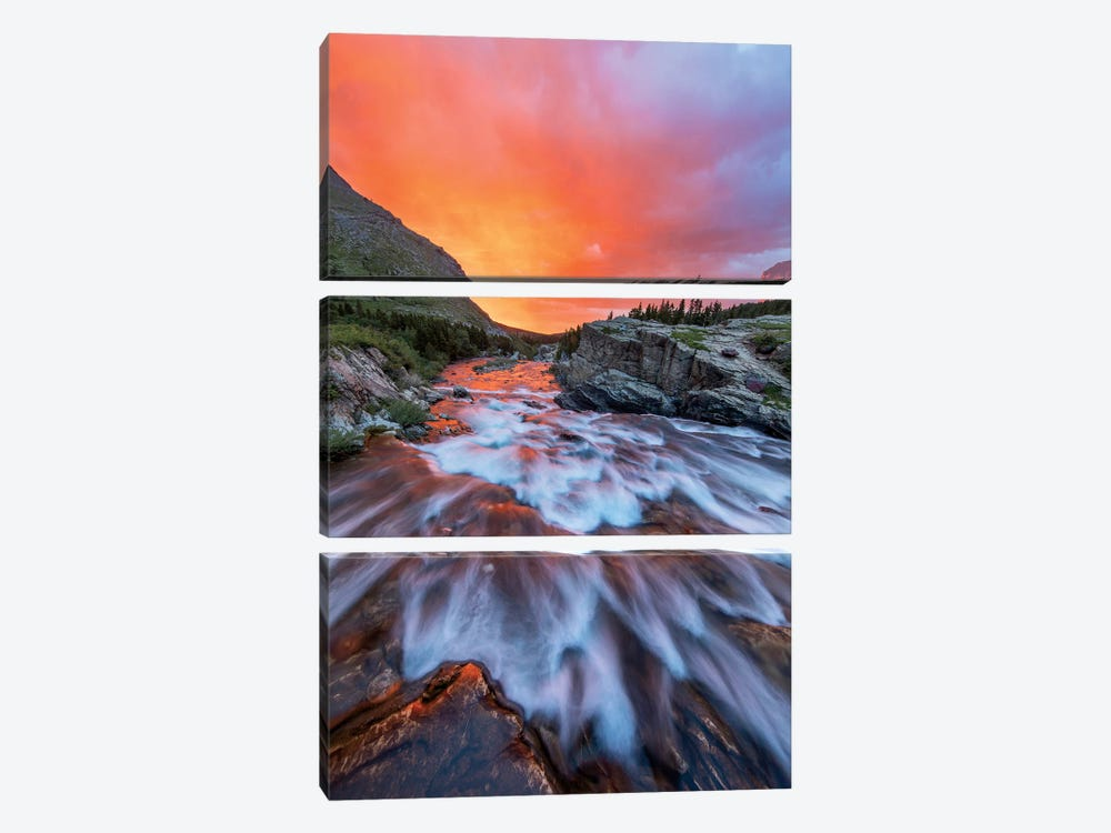 Cloudy Sunrise Over Swiftcurrent Falls, Glacier National Park, Montana, USA by Chuck Haney 3-piece Canvas Artwork