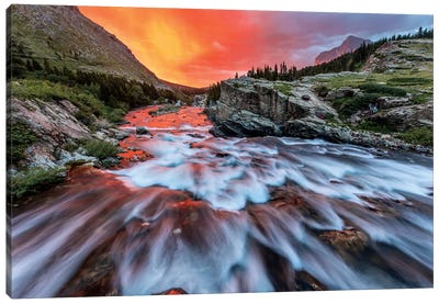 Cloudy Sunrise, Swiftcurrent Falls, Glacier National Park, Montana, USA Canvas Art Print