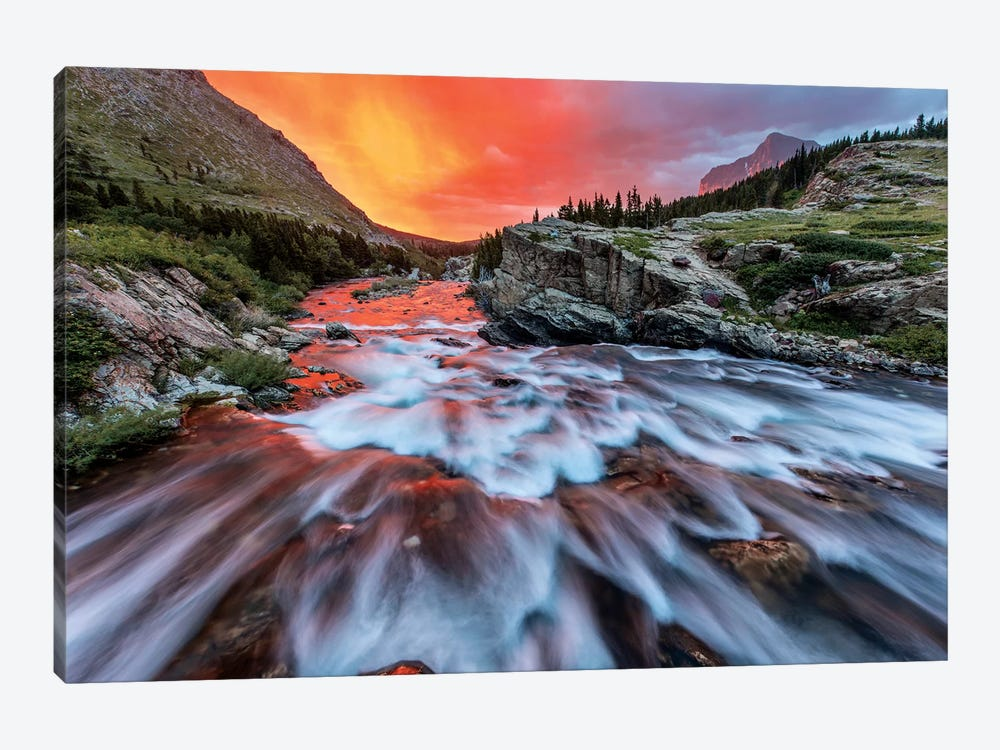 Cloudy Sunrise, Swiftcurrent Falls, Glacier National Park, Montana, USA by Chuck Haney 1-piece Canvas Print