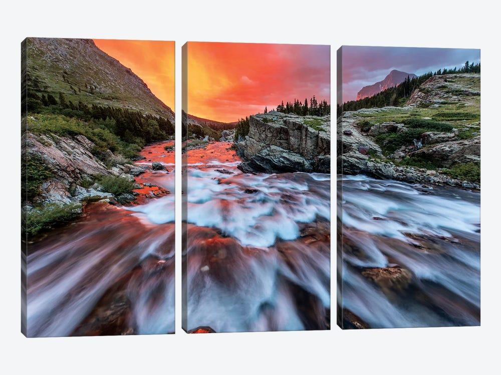 Cloudy Sunrise, Swiftcurrent Falls, Glacier National Park, Montana, USA by Chuck Haney 3-piece Canvas Art Print