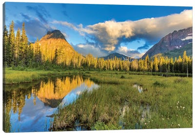 Sinopah Mountain And Its Reflection, Two Medicine, Glacier National Park, Montana, USA Canvas Art Print