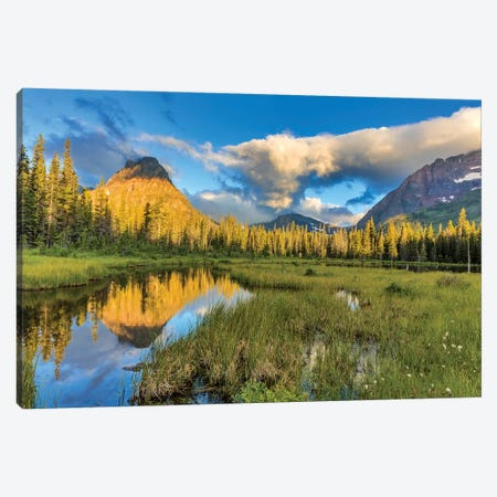Sinopah Mountain And Its Reflection, Two Medicine, Glacier National Park, Montana, USA Canvas Print #UCK15} by Chuck Haney Canvas Artwork