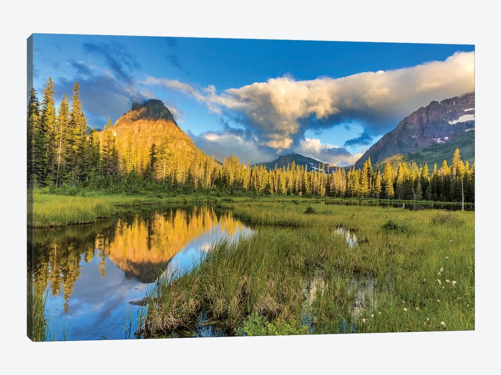 Sinopah Mountain And Its Reflection, Two Medicine, Glacier National Park, Montana, USA by Chuck Haney 1-piece Canvas Wall Art