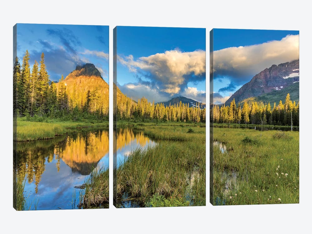 Sinopah Mountain And Its Reflection, Two Medicine, Glacier National Park, Montana, USA by Chuck Haney 3-piece Canvas Wall Art