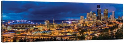 Downtown Skyline At Night, Seattle, King County, Washington, USA Canvas Art Print