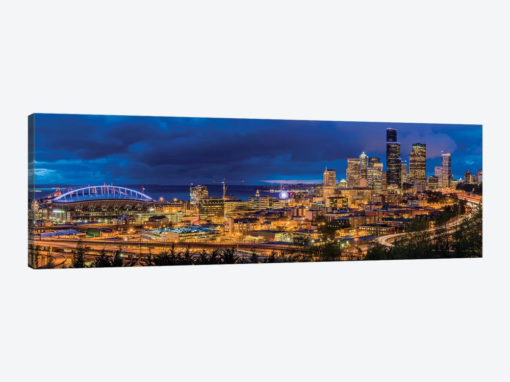 Downtown Skyline At Night, Seattle, King County, Washington, USA by Chuck Haney 1-piece Canvas Art