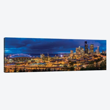 Downtown Skyline At Night, Seattle, King County, Washington, USA Canvas Print #UCK22} by Chuck Haney Canvas Art