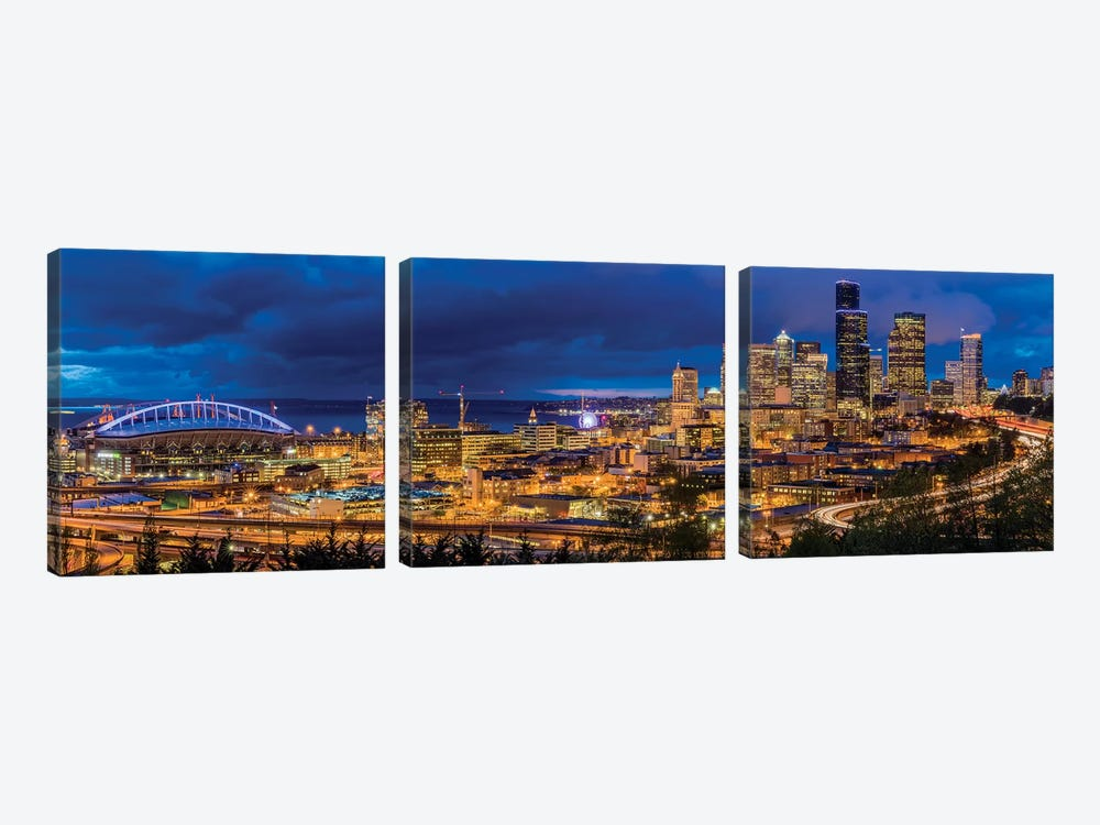 Downtown Skyline At Night, Seattle, King County, Washington, USA by Chuck Haney 3-piece Canvas Artwork