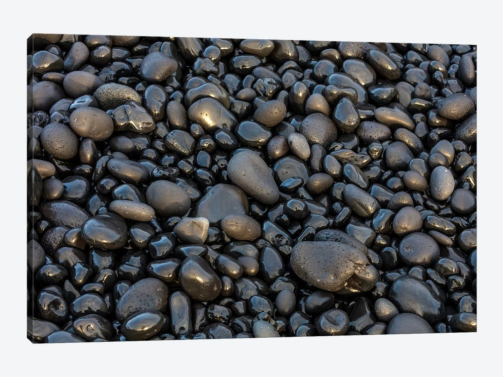 Black pebbles on the beach, Snaefellsnes Peninsula, Iceland by Chuck Haney 1-piece Canvas Artwork