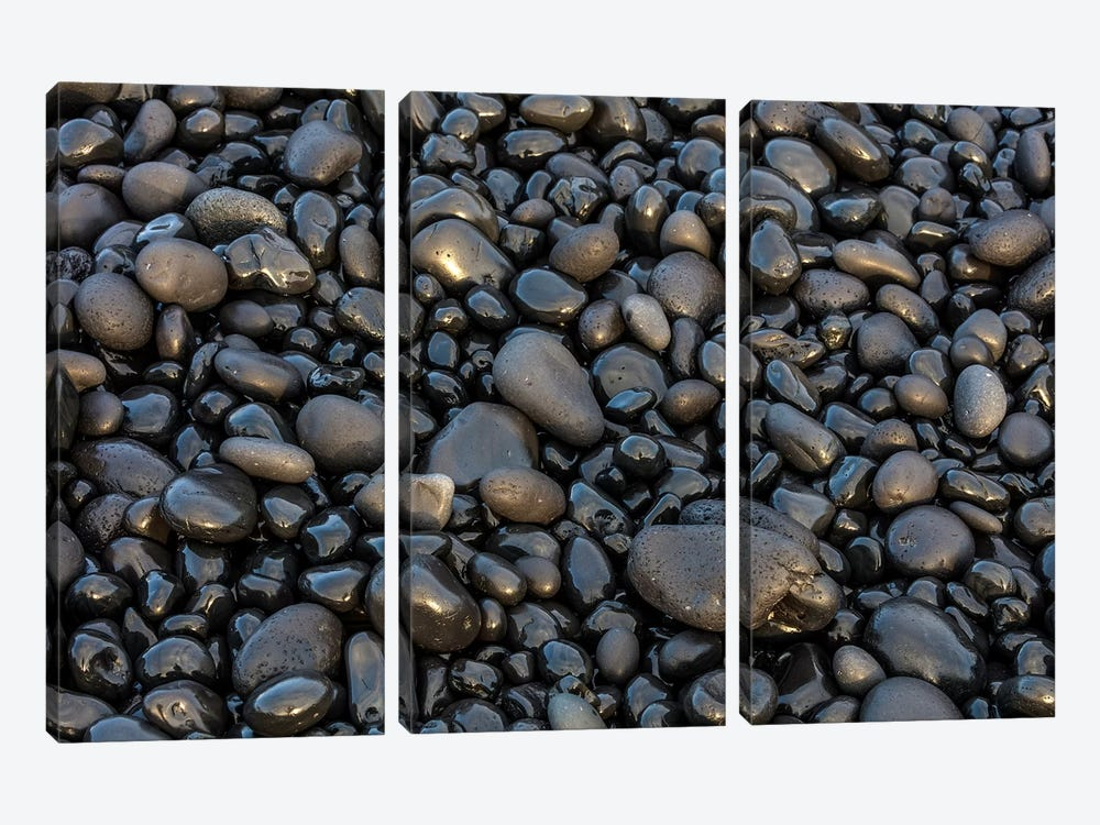 Black pebbles on the beach, Snaefellsnes Peninsula, Iceland by Chuck Haney 3-piece Canvas Wall Art