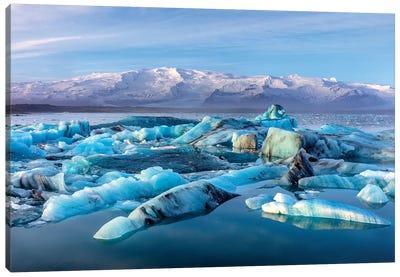 Calving icebergs in Jokulsarlon Glacier Lagoon in south Iceland Canvas Art Print