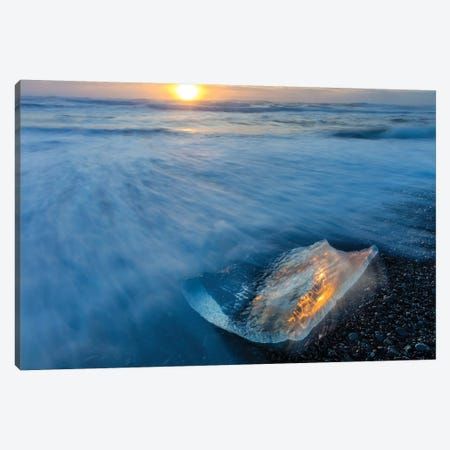 Diamond ice chards from calving icebergs on black sand beach, Jokulsarlon, south Iceland I Canvas Print #UCK29} by Chuck Haney Canvas Art