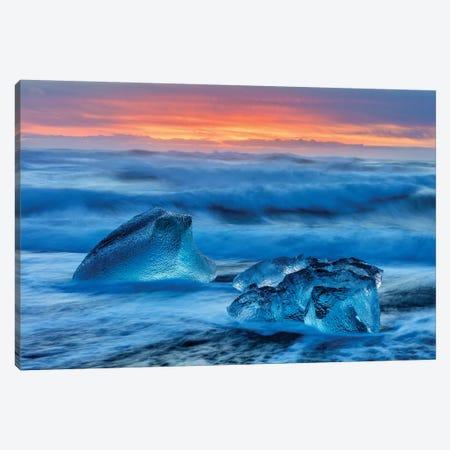 Diamond ice chards from calving icebergs on black sand beach, Jokulsarlon, south Iceland II Canvas Print #UCK30} by Chuck Haney Art Print
