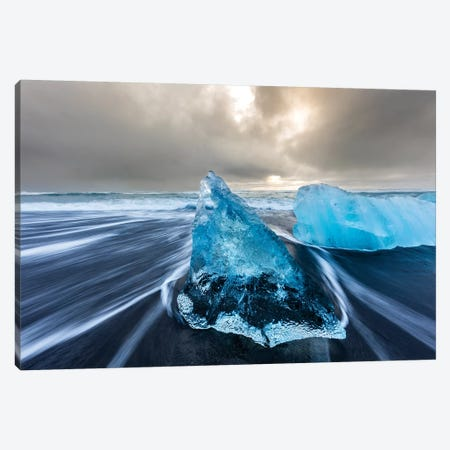 Diamond ice chards from calving icebergs on black sand beach, Jokulsarlon, south Iceland III Canvas Print #UCK31} by Chuck Haney Art Print