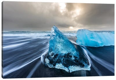 Diamond ice chards from calving icebergs on black sand beach, Jokulsarlon, south Iceland III Canvas Art Print