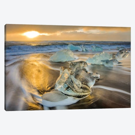 Diamond ice chards from calving icebergs on black sand beach, Jokulsarlon, south Iceland IV Canvas Print #UCK32} by Chuck Haney Art Print