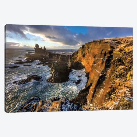 Dramatic cliffs at Londrangar sea stacks, Snaefellsnes Peninsula, Iceland I Canvas Print #UCK34} by Chuck Haney Canvas Art