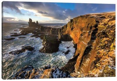 Dramatic cliffs at Londrangar sea stacks, Snaefellsnes Peninsula, Iceland I Canvas Art Print