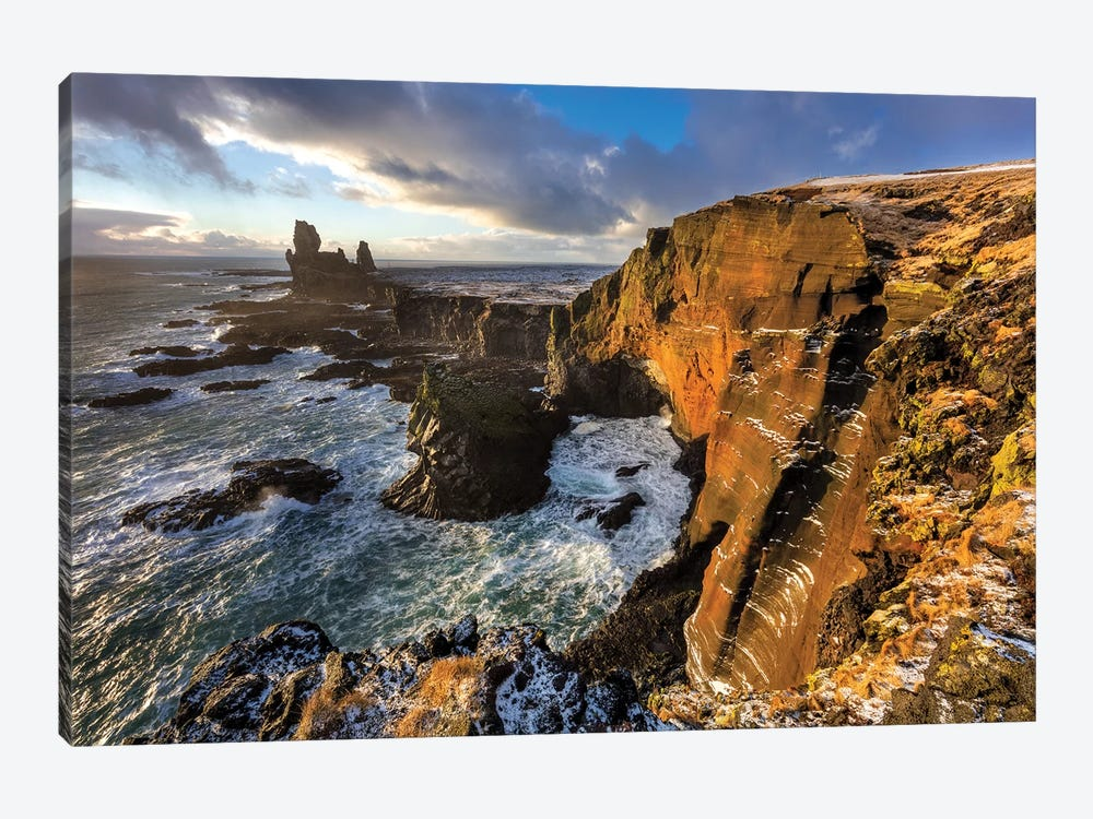 Dramatic cliffs at Londrangar sea stacks, Snaefellsnes Peninsula, Iceland I by Chuck Haney 1-piece Canvas Art Print