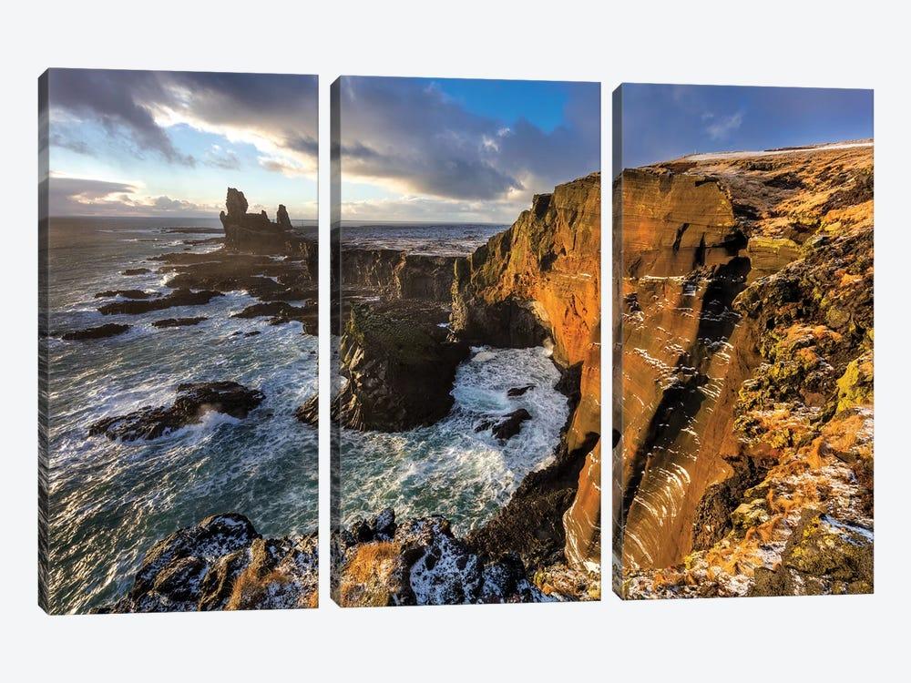 Dramatic cliffs at Londrangar sea stacks, Snaefellsnes Peninsula, Iceland I by Chuck Haney 3-piece Canvas Art Print