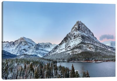 Grinnell Point and Mount Gould over Swift current Lake, Glacier National Park, Montana, USA Canvas Art Print
