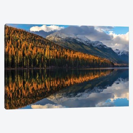 Mountain peaks reflect into Bowman Lake in autumn, Glacier National Park, Montana, USA I Canvas Print #UCK44} by Chuck Haney Art Print