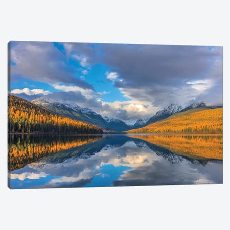 Mountain peaks reflect into Bowman Lake in autumn, Glacier National Park, Montana, USA II Canvas Print #UCK45} by Chuck Haney Canvas Art Print
