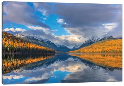 Mountain peaks reflect into Bowman Lake in autumn, Glacier National Park, Montana, USA II Canvas Art Print