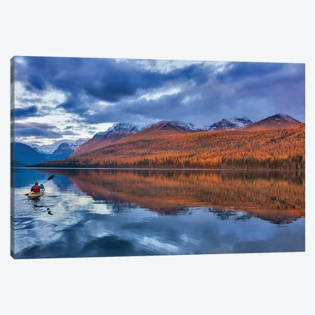 Sea kayaking on Bowman Lake in autumn in Glacier National Park, Montana, USA  Canvas Print #UCK47} by Chuck Haney Art Print