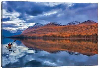 Sea kayaking on Bowman Lake in autumn in Glacier National Park, Montana, USA  Canvas Art Print
