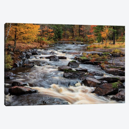 The Middle Branch of the Escanaba River Rapids in autumn, Palmer, Michigan USA Canvas Print #UCK53} by Chuck Haney Canvas Art Print