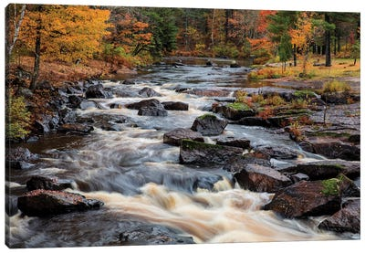The Middle Branch of the Escanaba River Rapids in autumn, Palmer, Michigan USA Canvas Art Print
