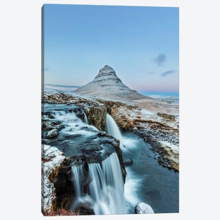 Wintry waterfall below Kirkjufell, Snaefellsnes Peninsula, Iceland Canvas Print #UCK57} by Chuck Haney Canvas Artwork
