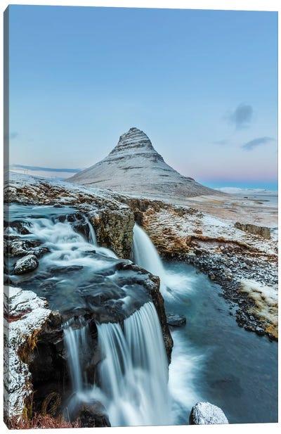 Wintry waterfall below Kirkjufell, Snaefellsnes Peninsula, Iceland Canvas Art Print