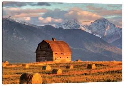 Dupuis Barn With Mission Range In The Background, Ronan, Lake County, Montana, USA Canvas Art Print