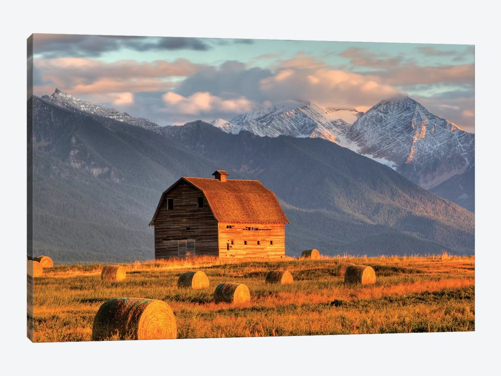 Dupuis Barn With Mission Range In The Background, Ronan, Lake County, Montana, USA 1-piece Art Print
