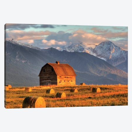 Dupuis Barn With Mission Range In The Background, Ronan, Lake County, Montana, USA Canvas Print #UCK5} by Chuck Haney Art Print