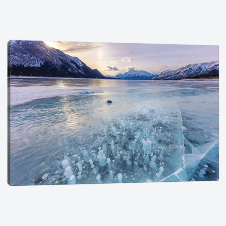 Methane ice bubbles under clear ice on Abraham Lake near Nordegg, Alberta, Canada Canvas Print #UCK68} by Chuck Haney Canvas Art