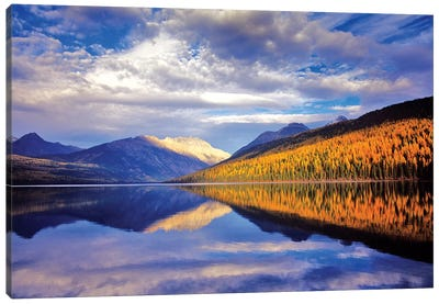 Cloudy Autumn Landscape And Its Reflection, Kintla Lake, Glacier National Park, Flathead County, Montana, USA Canvas Art Print