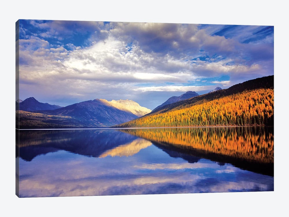 Cloudy Autumn Landscape And Its Reflection, Kintla Lake, Glacier National Park, Flathead County, Montana, USA by Chuck Haney 1-piece Canvas Artwork
