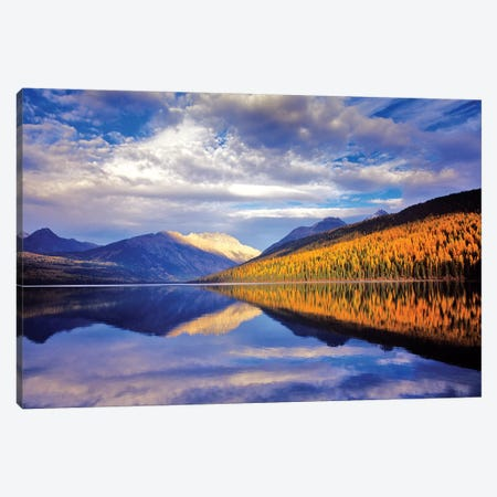 Cloudy Autumn Landscape And Its Reflection, Kintla Lake, Glacier National Park, Flathead County, Montana, USA Canvas Print #UCK6} by Chuck Haney Canvas Print