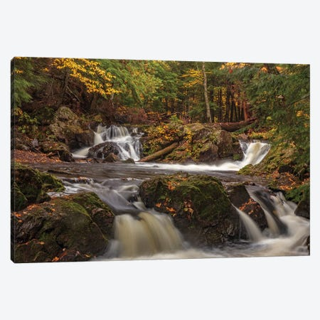 Rapids and autumn leaves along the Little Carp River in Porcupine Mountains Wilderness State Park Canvas Print #UCK71} by Chuck Haney Canvas Print